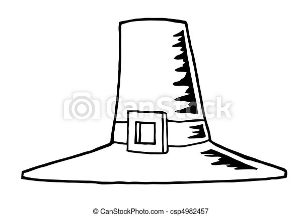 Vectors Illustration Of Outlined Pilgrim Hat