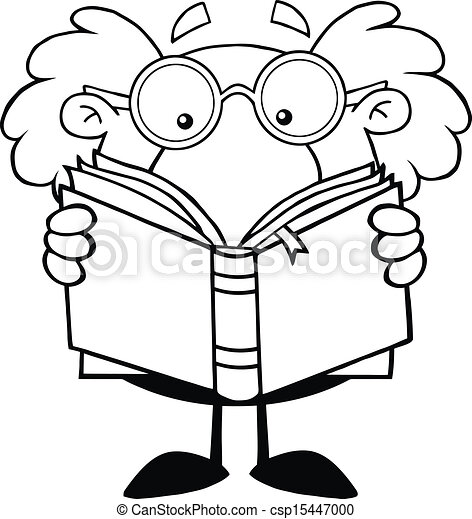 outlined professor reading a book black and white