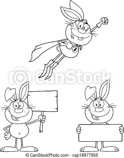Outlined Rabbit 2. Set Collection - csp18977955