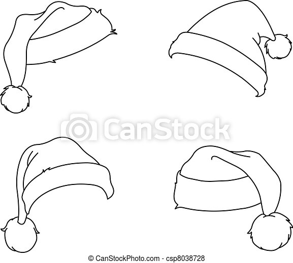 Christmas Hat Drawing.Outlined Santa Hats