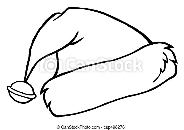 Outlined santa\'s hat . Coloring page outline of a bell on a ...