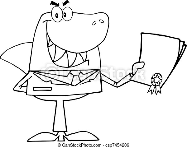 Outlined Shark Businessman  - csp7454206