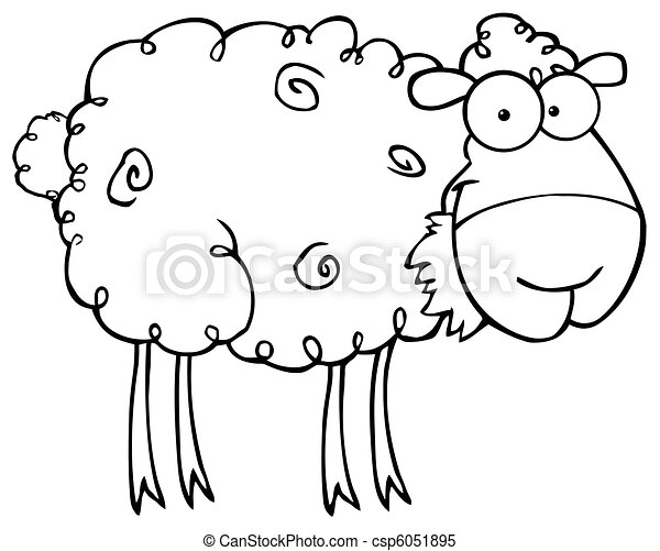 Outlined Sheep Eating Grass - csp6051895