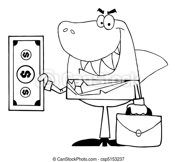 Outlined Smiled Business Shark  - csp5153237