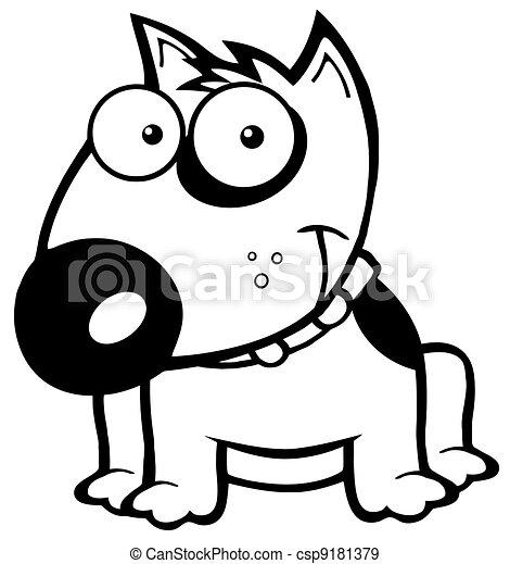 Outlined Smiling Bull Terrier Dog - csp9181379