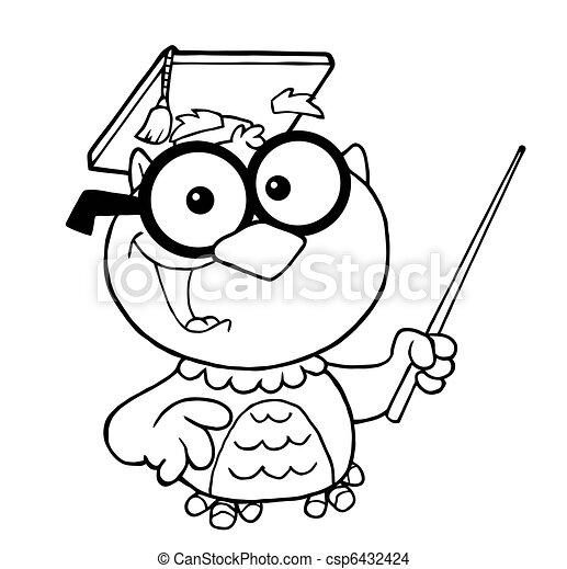 Outlined Teacher Owl Teacher - csp6432424