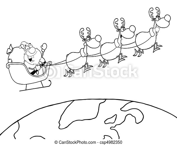outlined team of reindeer and santa a coloring page outline of