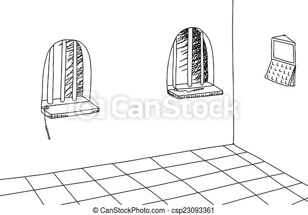 Outlined Teller Windows Outlined Cartoon Old Fashioned