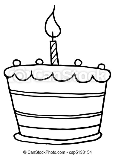 Outlined Tiered Birthday Cake - csp5133154