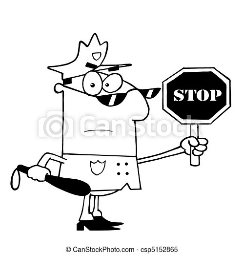 Outlined traffic police officer. Coloring page outline of a police ...