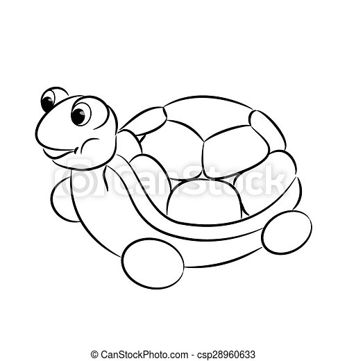 Outlined turtle toy coloring book csp28960633