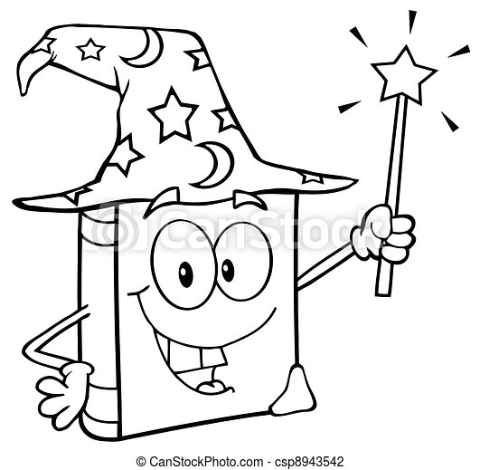 Outlined Wizard Book Cartoon - csp8943542