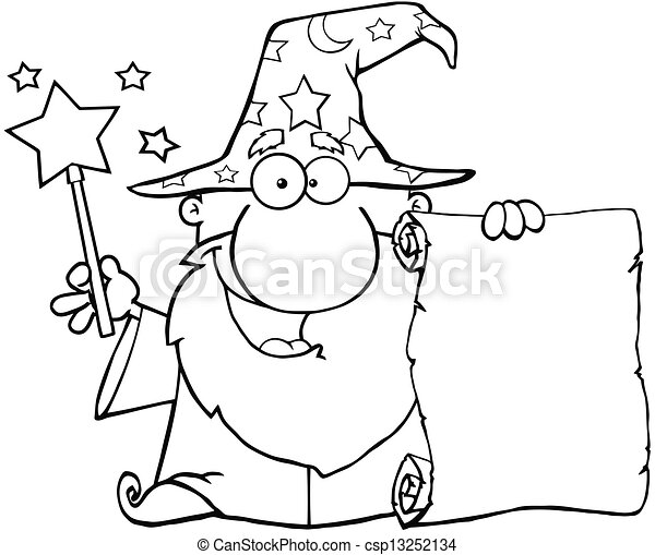 Outlined Wizard Holding Up A Scroll - csp13252134