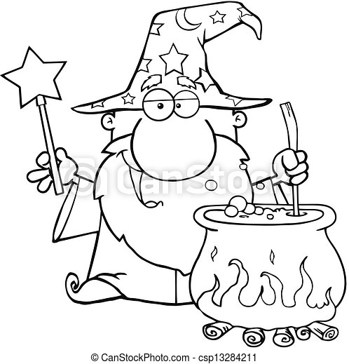 Outlined Wizard Preparing A Potion - csp13284211