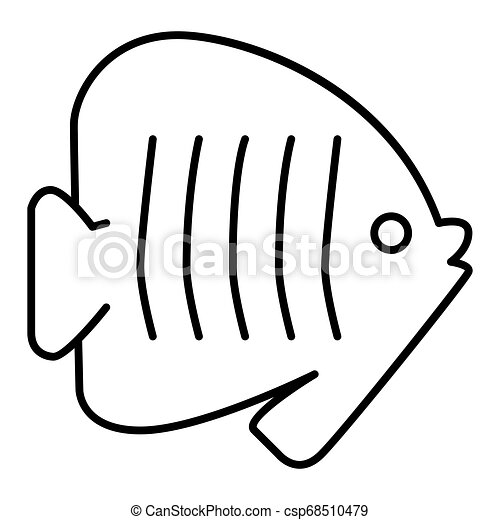 Outlines fish icon illustration on white background. Flat linear icon - csp68510479