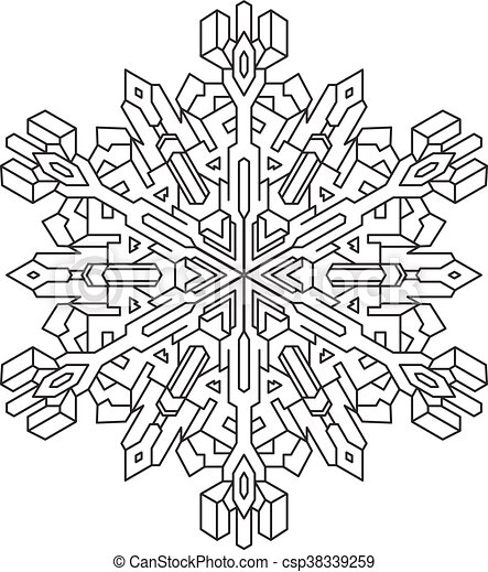 Outlines Of Snowflake In Mono Line Style For Coloring Book Vector Geometric Pattern