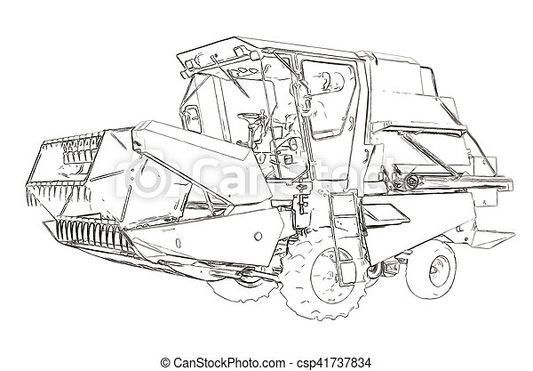 Outlines of the small agricultural harvester - csp41737834
