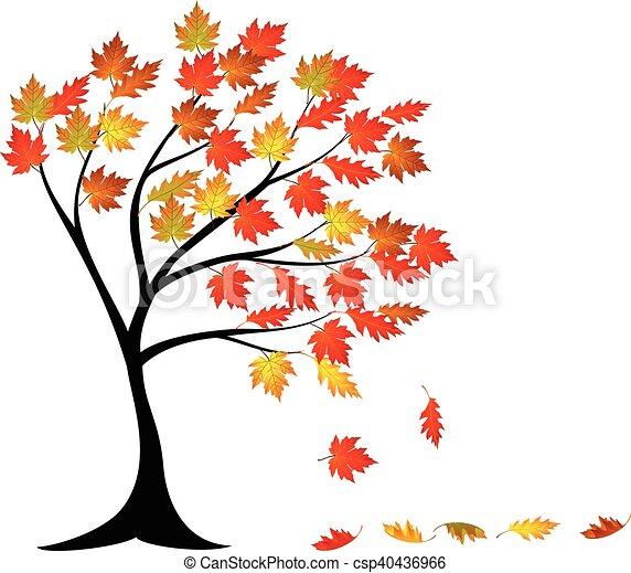 outono, árvore, caricatura - csp40436966