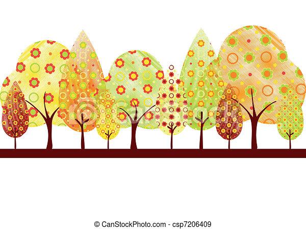 outono, abstratos, árvore, cartão cumprimento - csp7206409