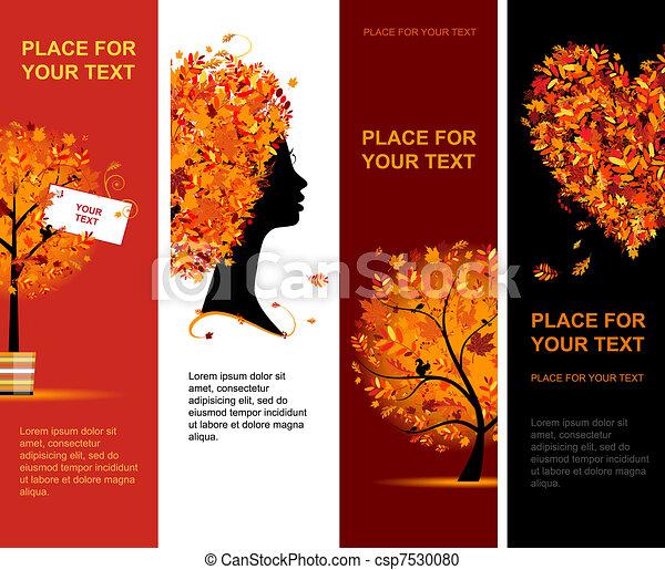 outono, bandeiras, desenho, seu, vertical - csp7530080