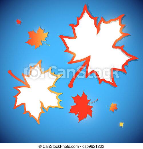 outono, bordas, folhas, maple, fundo - csp9621202