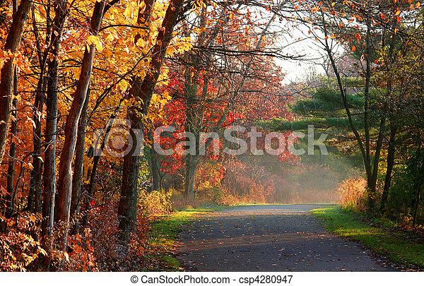 outono cênico, estrada - csp4280947