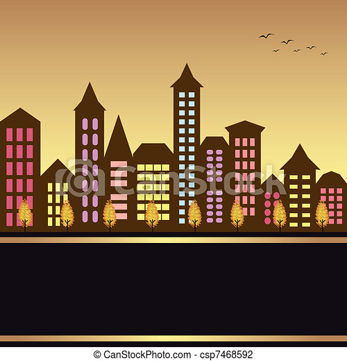 outono, cityscape, ilustração - csp7468592