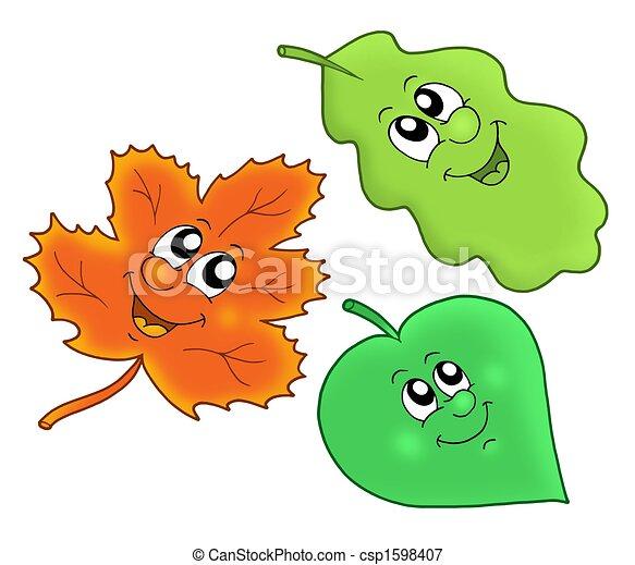 outono, cute, folhas - csp1598407