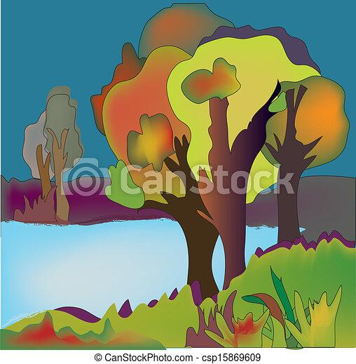outono, fundo, árvores, lago, ilustração - csp15869609
