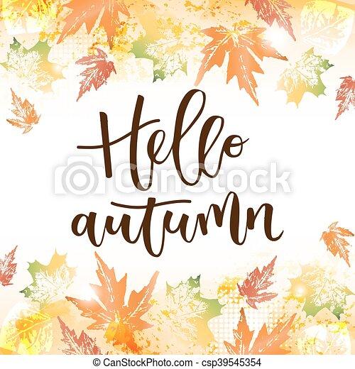 outono, inscrição, escrito, olá, mão - csp39545354