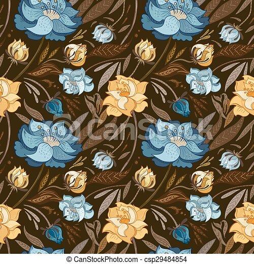 outono, marrom, vetorial, padrão floral - csp29484854