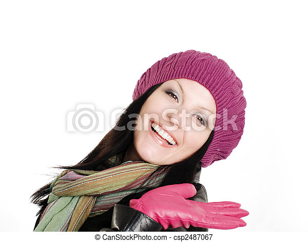 outono, mulher, morena, sorrindo, roupas - csp2487067