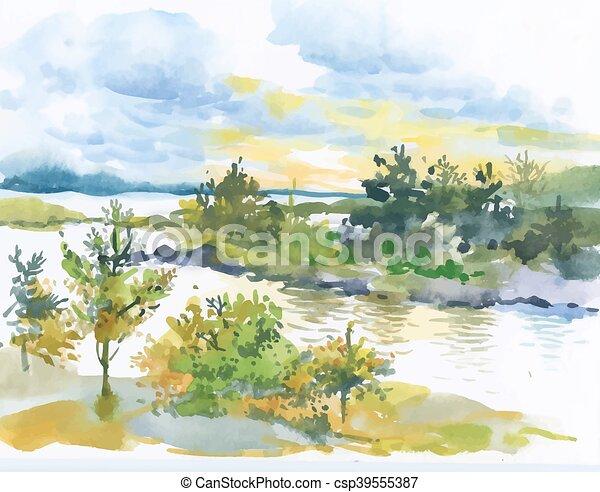 outono, paisagem., aquarela, floresta lago - csp39555387