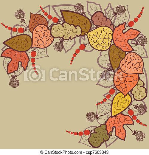 outono sai, vetorial, fundo, bagas - csp7603343