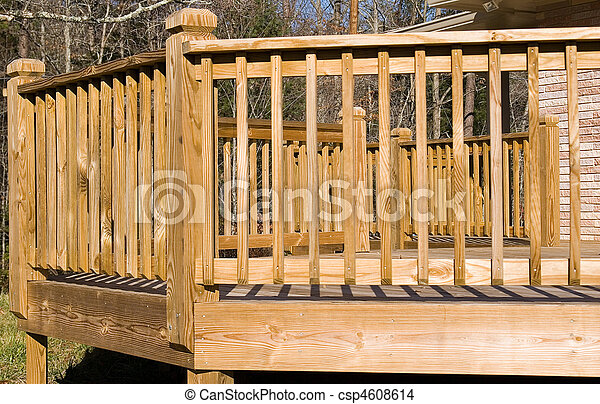 Outside of a New Wood Deck - csp4608614