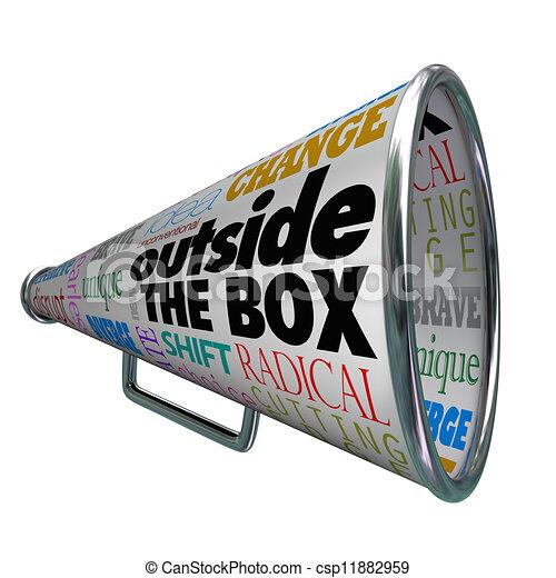 Outside the Box Megaphone Bullhorn Change Innovation - csp11882959