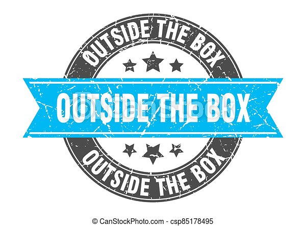 outside the box round stamp with ribbon. label sign - csp85178495