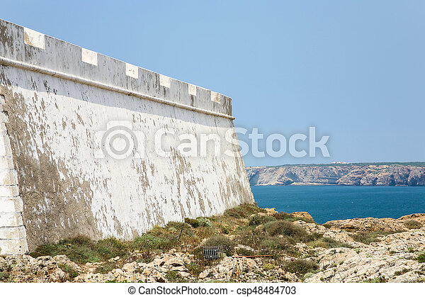 outside wall of Fortress of Sagres - csp48484703