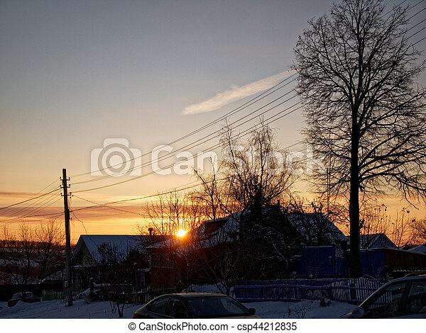 Outskirts of small town in winter - csp44212835