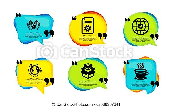 outsourcing, アイコン, 箱, パッキング, ベクトル, set., 保険, 世界的である - csp86367641
