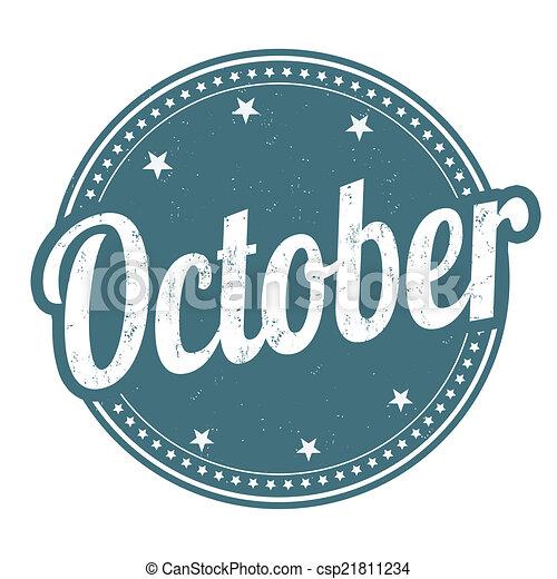outubro, selo - csp21811234