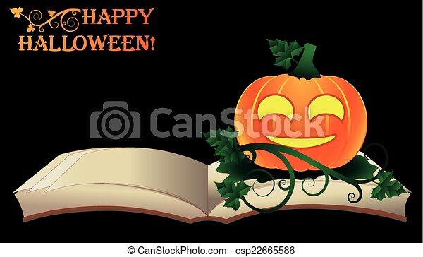 Ouvert Halloween Vieux Livre Heureux