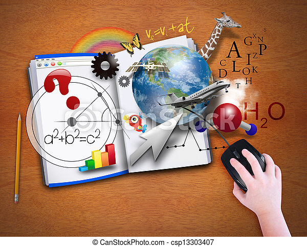 ouvert, informatique, livre, souris - csp13303407