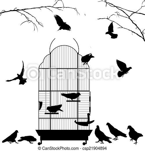 Ouvert mettez cage oiseau oiseaux cage sur oiseau silhouettes fond blanc ouvert oiseaux - Dessin oiseau en cage ...