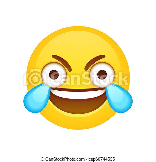 Ouvert Oeil Rire Pleurer Emoji Meme Rigolote Fou Oeil Agrafe Emoji Yeux Larges Figure Larmes Vecteur Joy Canstock