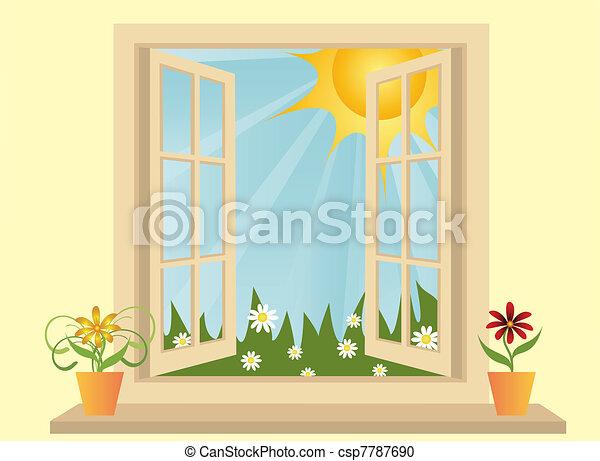 ouvert, salle, plastique, champ, fenêtre, vert, vue - csp7787690