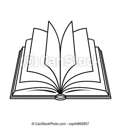 Ouvert Style Illustration Contour Symbole Isole Arriere Plan Vecteur Livres Blanc Icone Livre Stockage