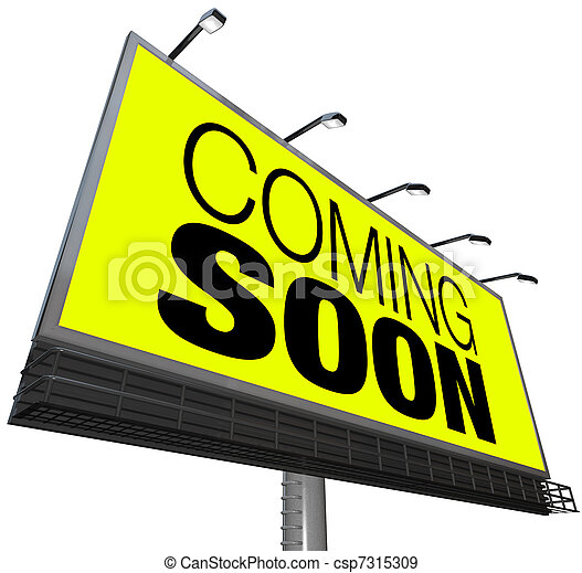 ouverture, announces, bientôt, venir, panneau affichage, nouveau, événement, magasin - csp7315309