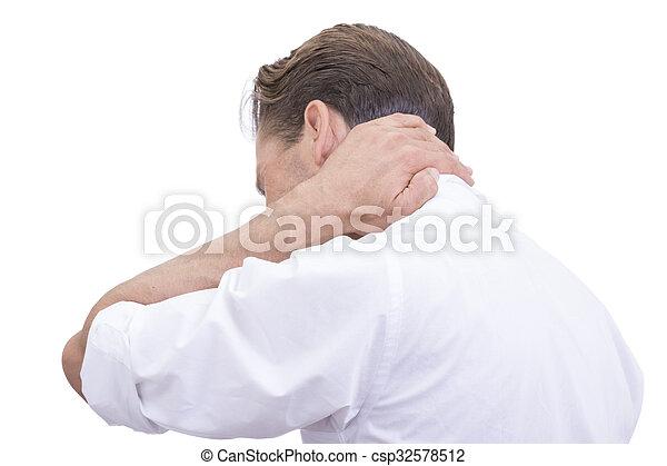 ouvrier, blanc, douleur, collier cou - csp32578512