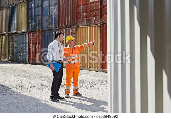 ouvrier, cargaison, manuel, récipients, homme affaires - csp3949592